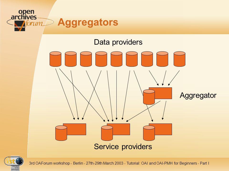 Aggregators Data providers Aggregator Service providers