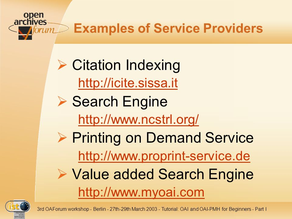 Examples of Service Providers