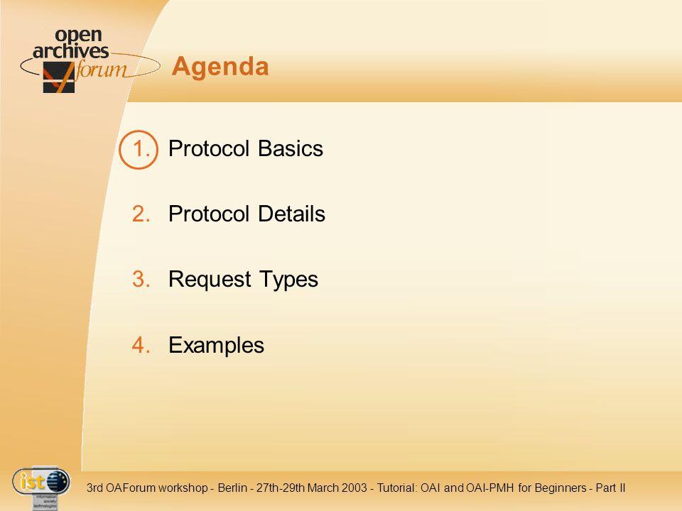 Agenda Protocol Basics Protocol Details Request Types Examples