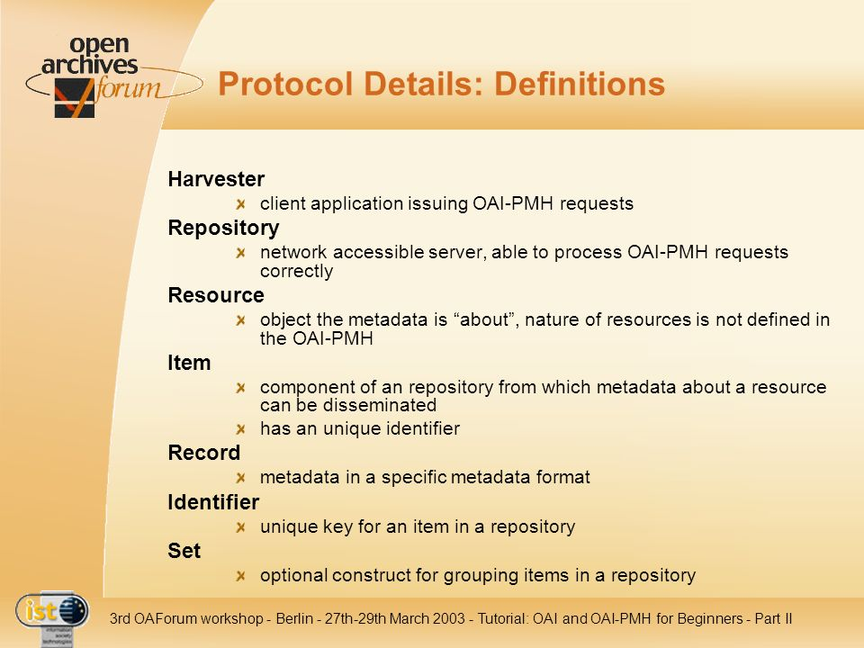 Protocol Details: Definitions