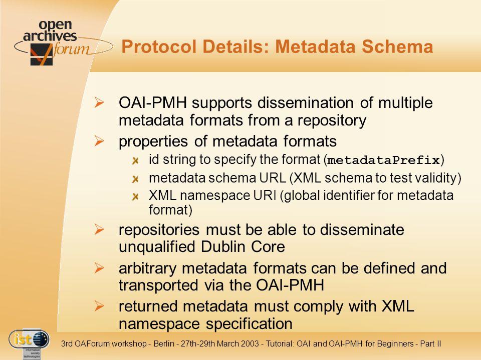 Protocol Details: Metadata Schema