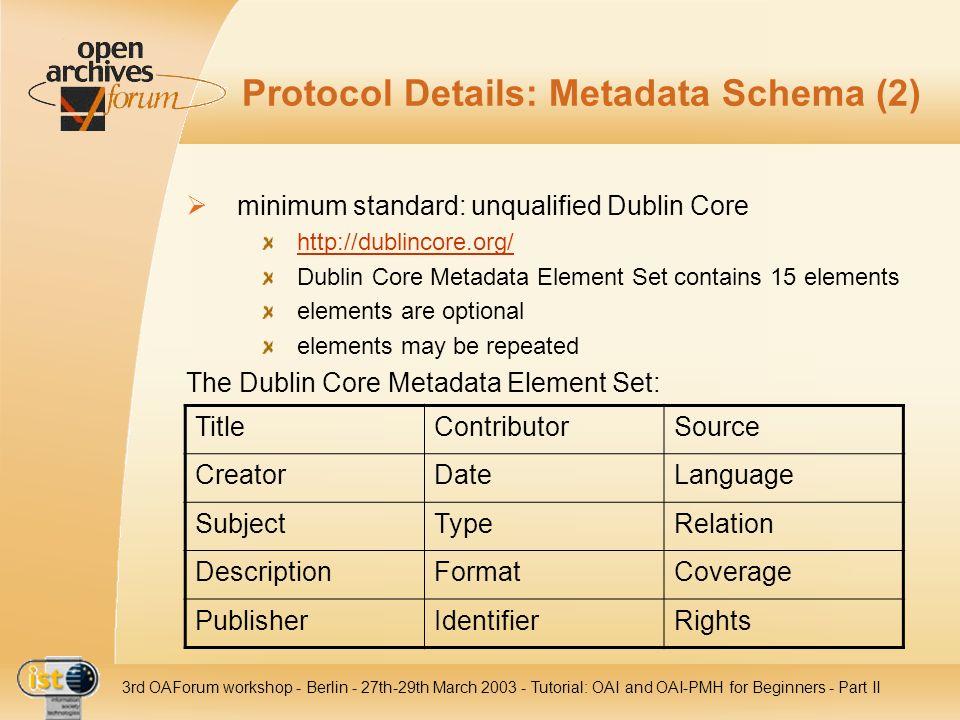 Protocol Details: Metadata Schema (2)