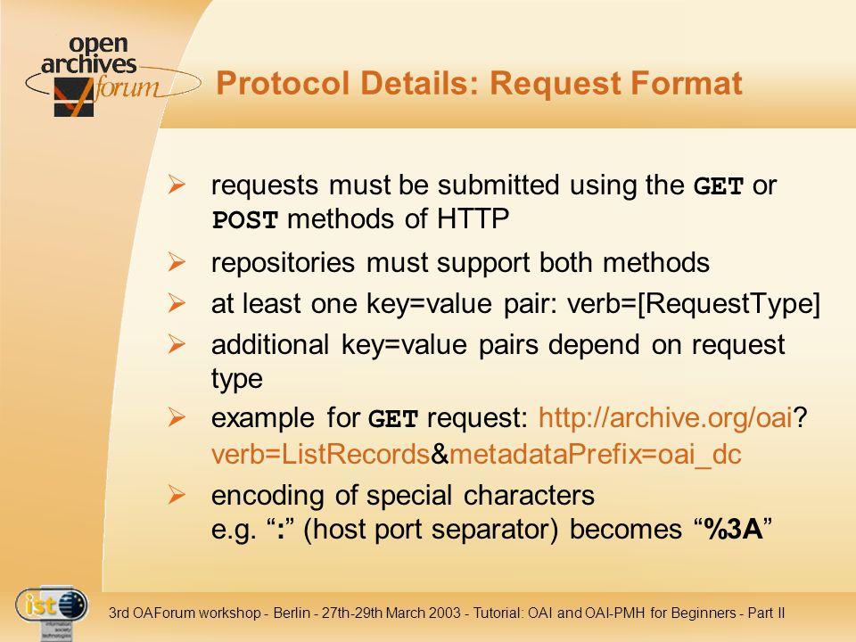Protocol Details: Request Format