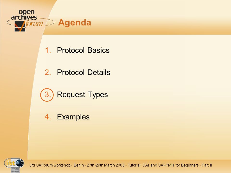 Agenda Protocol Basics Protocol Details Request Types Examples