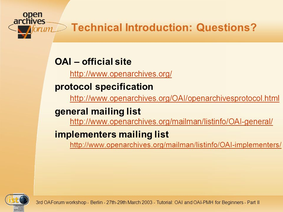 Technical Introduction: Questions