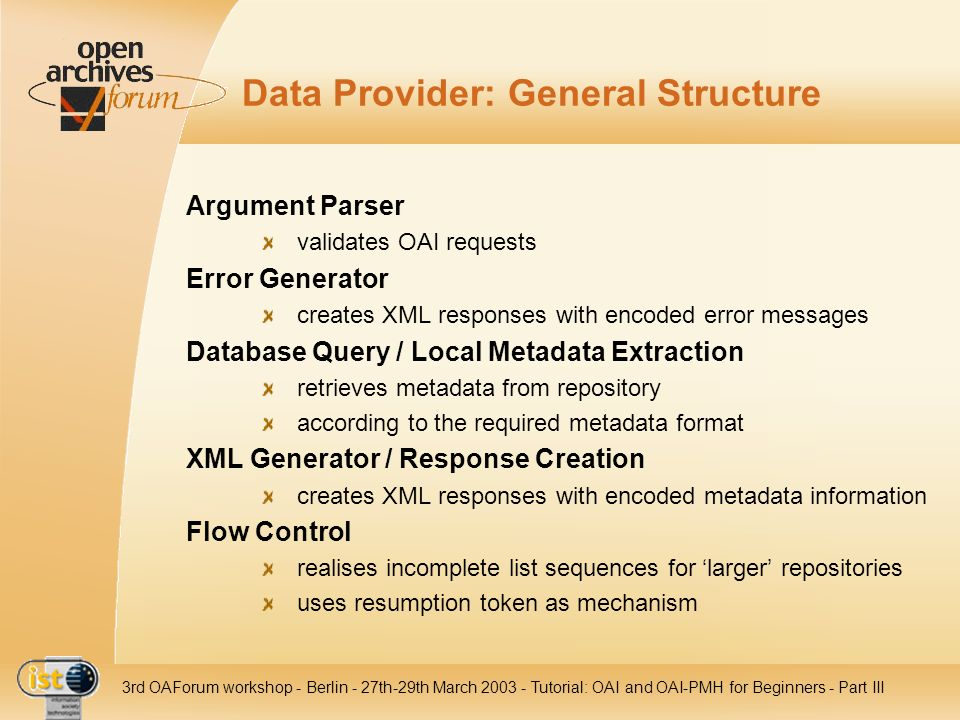 Data Provider: General Structure