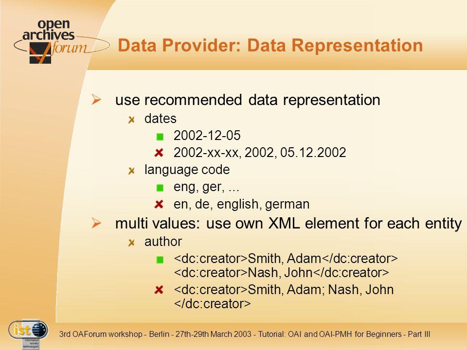 Data Provider: Data Representation