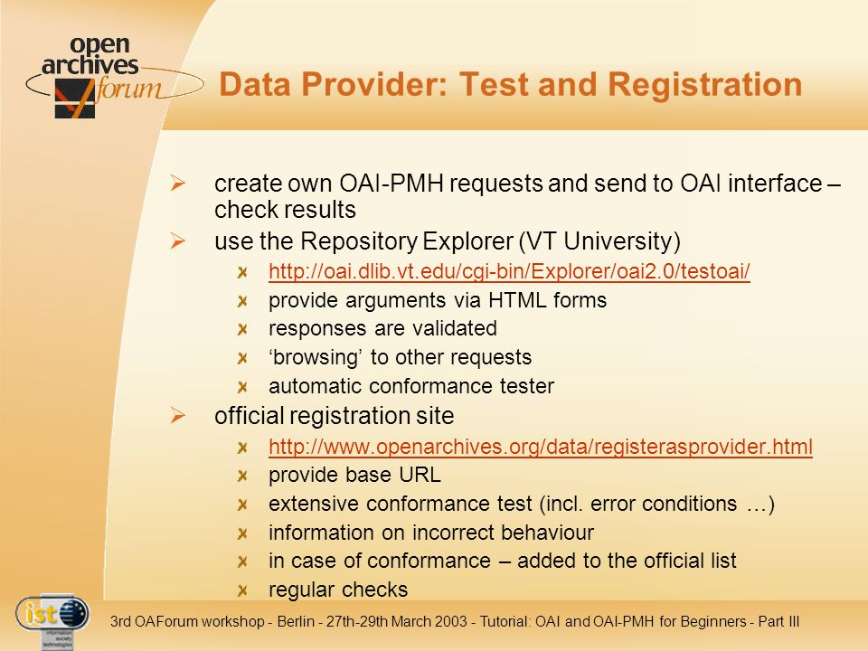 Data Provider: Test and Registration
