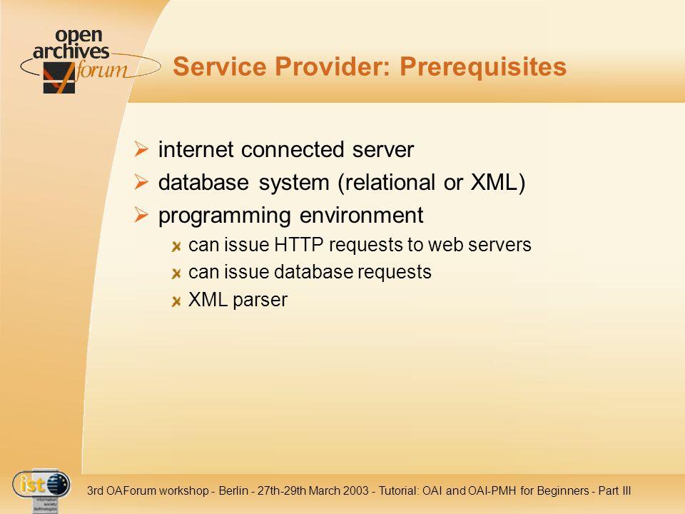 Service Provider: Prerequisites
