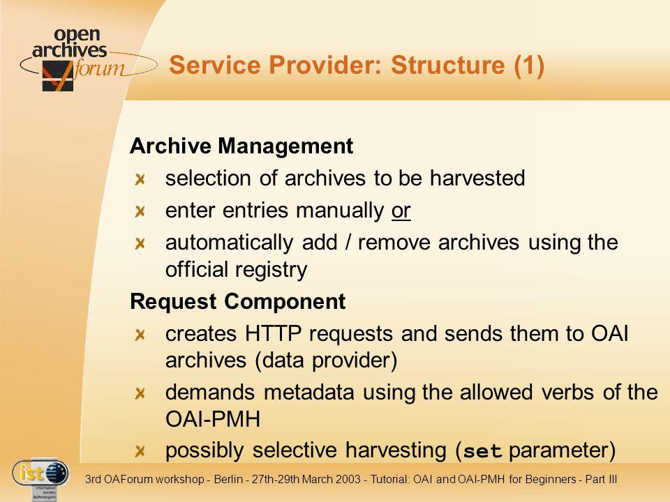 Service Provider: Structure (1)