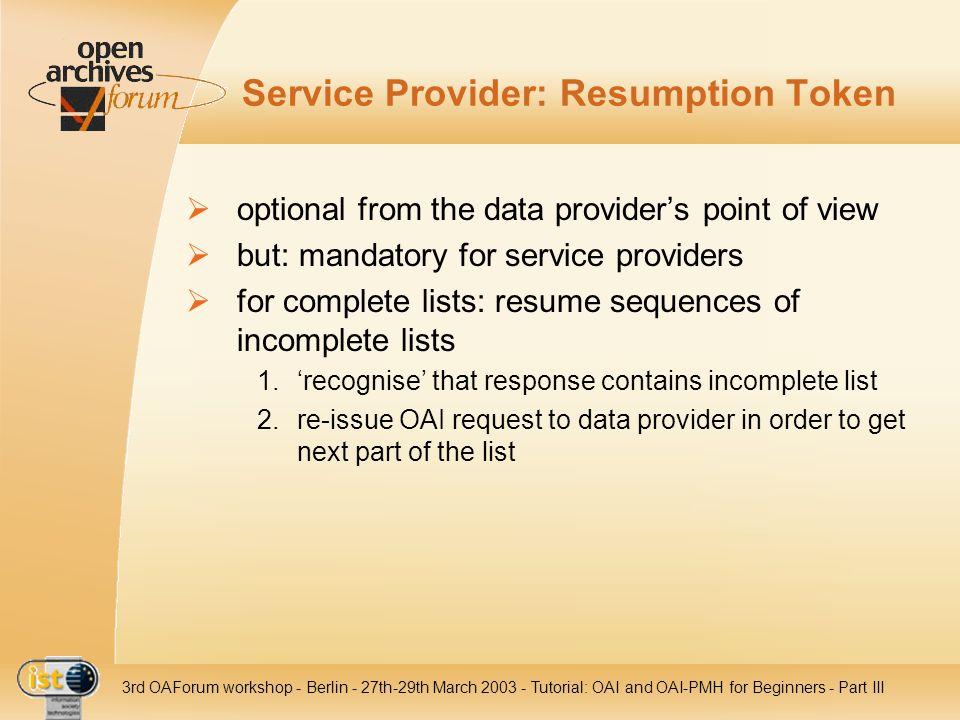 Service Provider: Resumption Token
