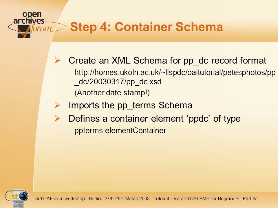 Step 4: Container Schema