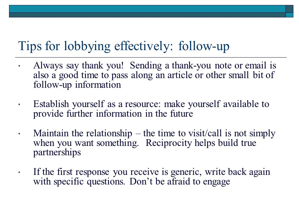Tips for lobbying effectively: follow-up
