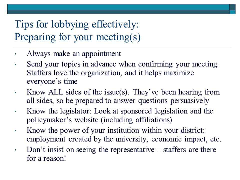 Tips for lobbying effectively: Preparing for your meeting(s)