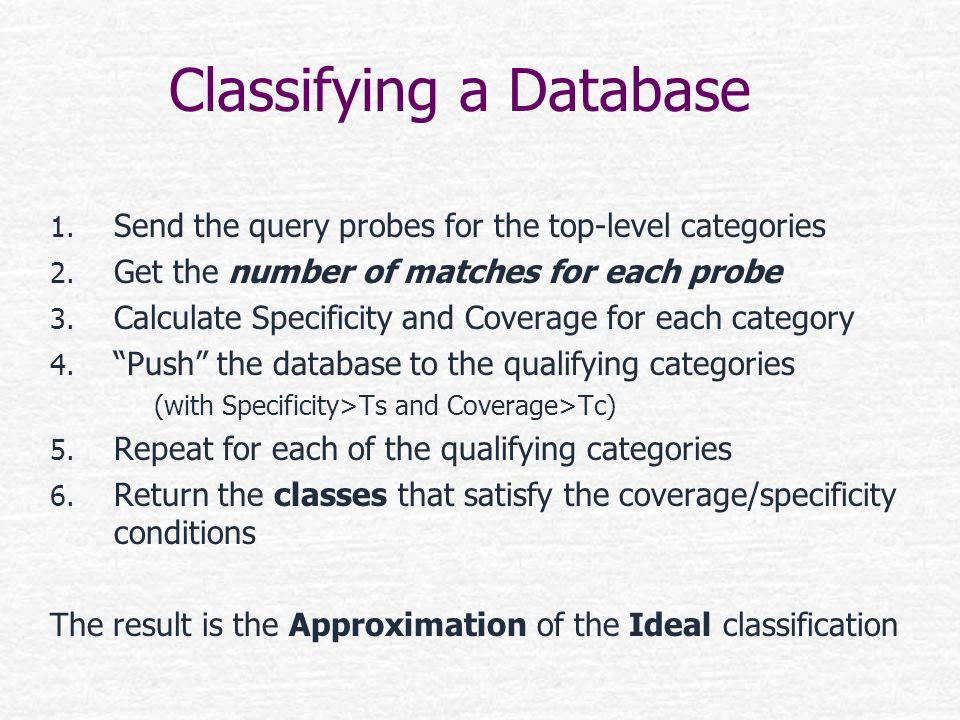 Classifying a Database