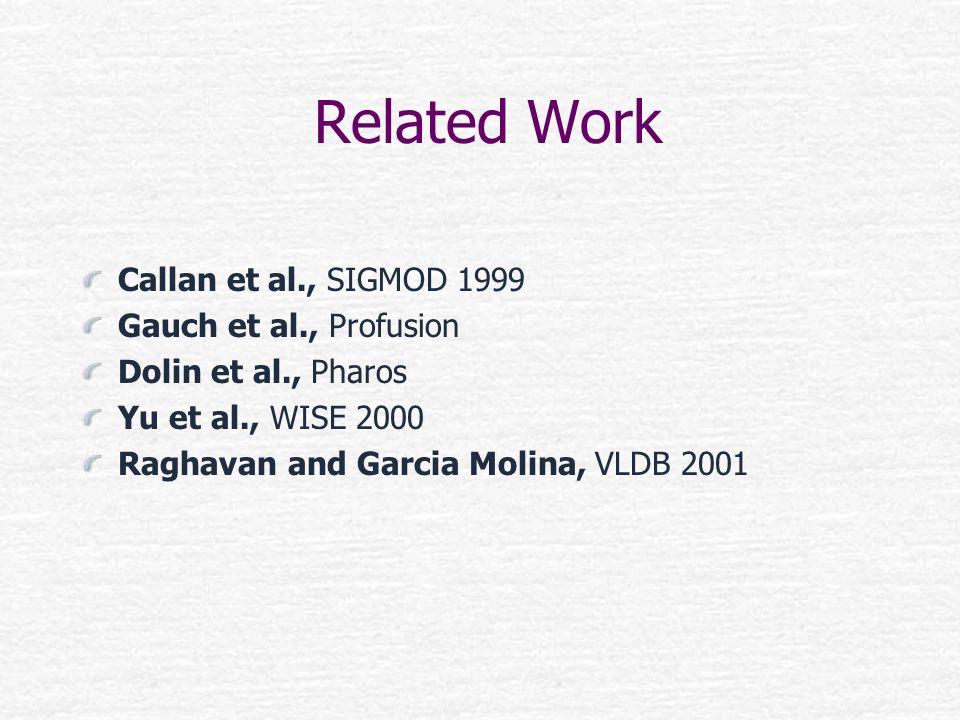 Related Work Callan et al., SIGMOD 1999 Gauch et al., Profusion