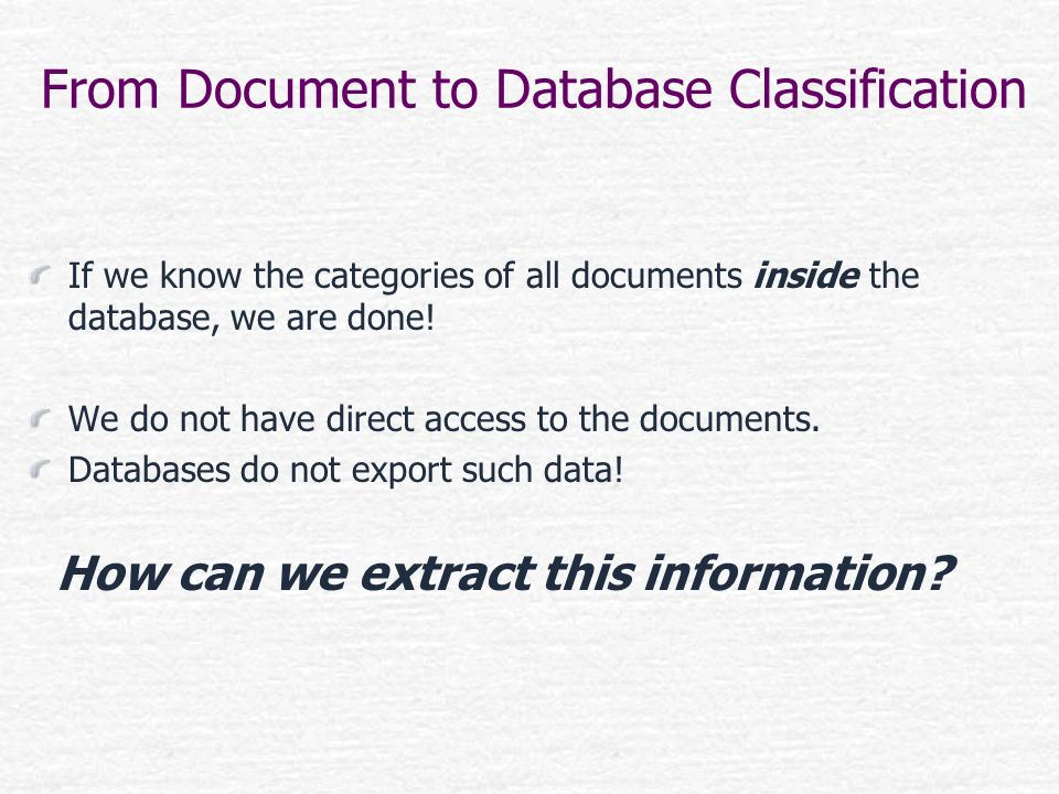 From Document to Database Classification