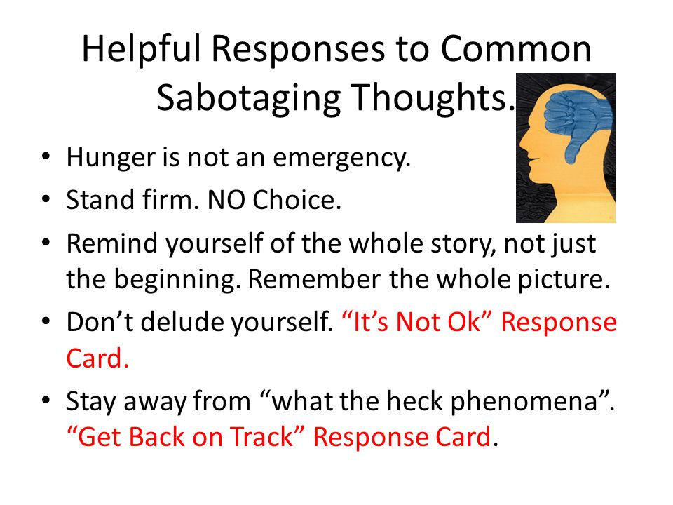Helpful Responses to Common Sabotaging Thoughts.