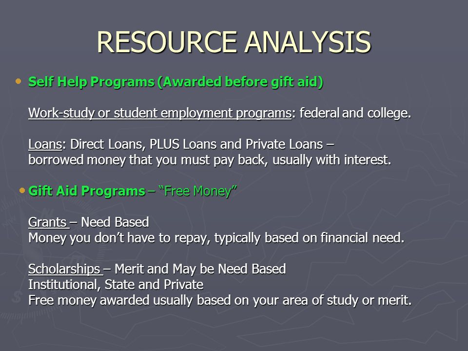 RESOURCE ANALYSIS Self Help Programs (Awarded before gift aid)
