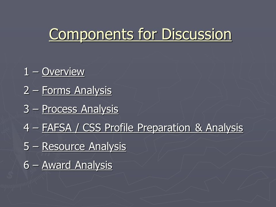 Components for Discussion