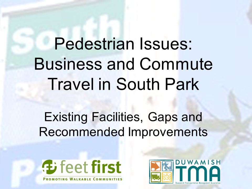 Pedestrian Issues: Business and Commute Travel in South Park Existing Facilities, Gaps and Recommended Improvements