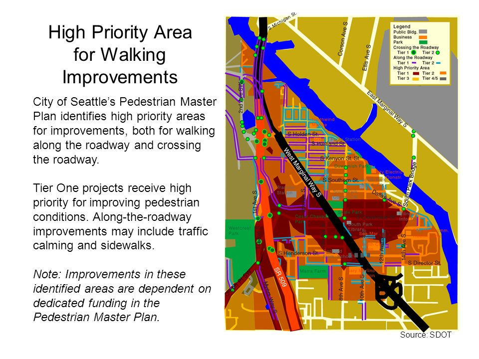 High Priority Area for Walking Improvements