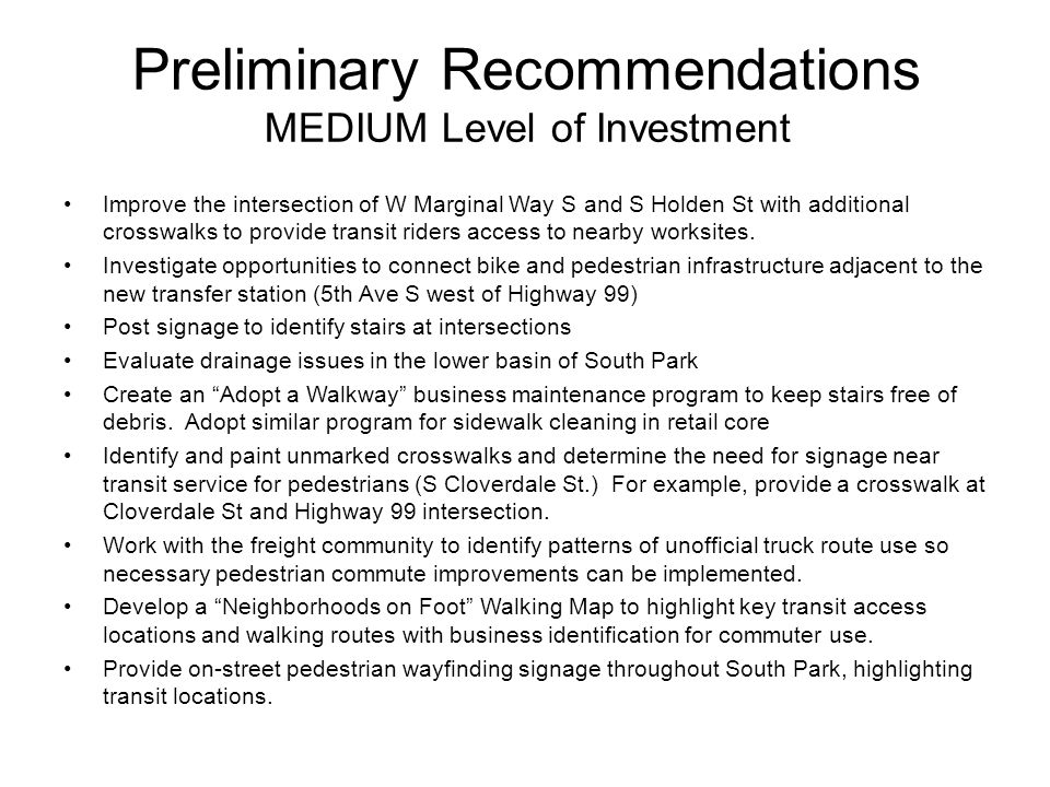 Preliminary Recommendations MEDIUM Level of Investment