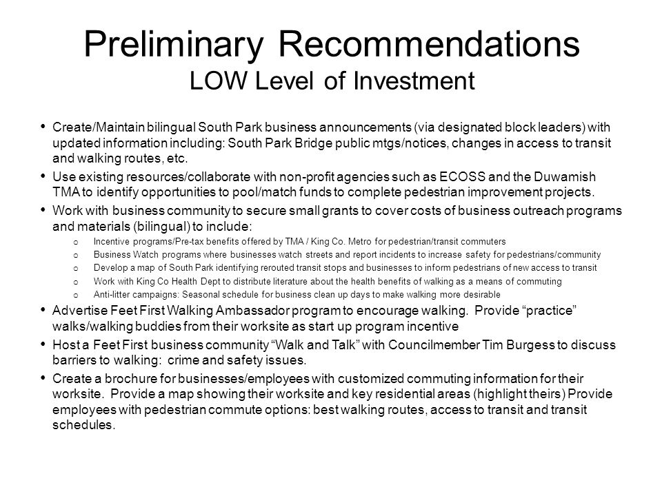 Preliminary Recommendations LOW Level of Investment