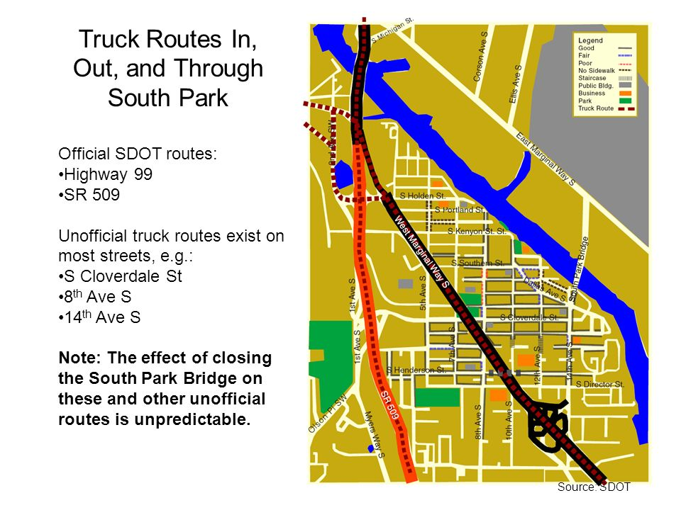 Truck Routes In, Out, and Through South Park