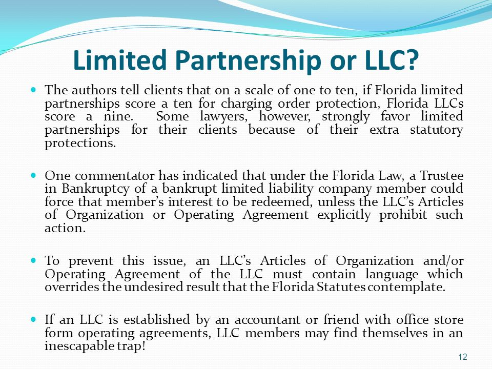 Limited Partnership or LLC