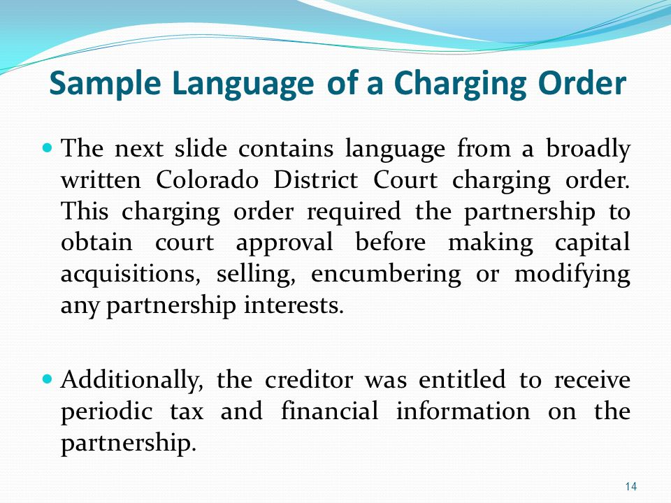 Sample Language of a Charging Order