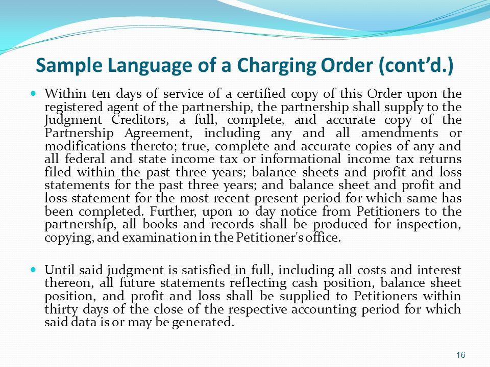 Sample Language of a Charging Order (cont'd.)