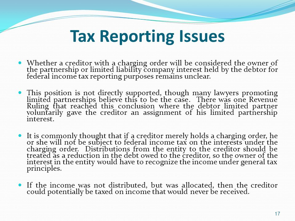 Tax Reporting Issues