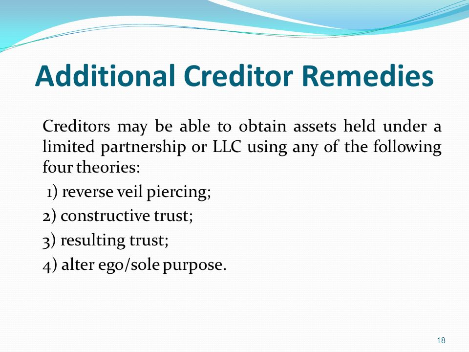 Additional Creditor Remedies