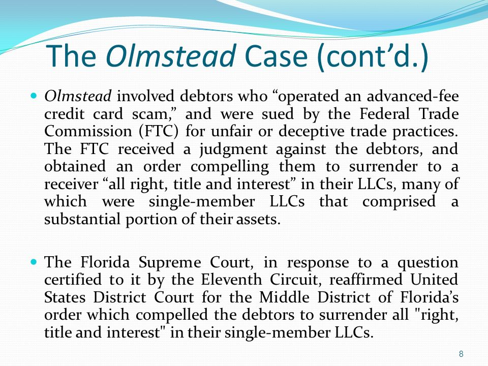 The Olmstead Case (cont'd.)