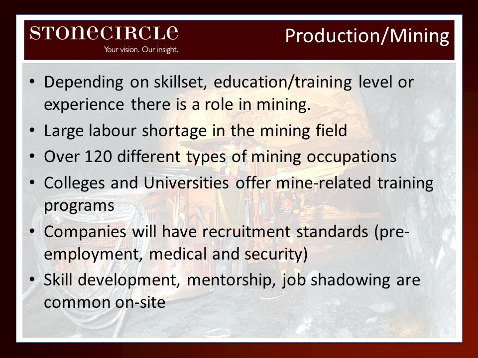 Production/MiningDepending on skillset, education/training level or experience there is a role in mining.