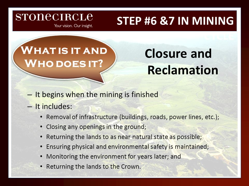 What is it and Who does it Closure and Reclamation