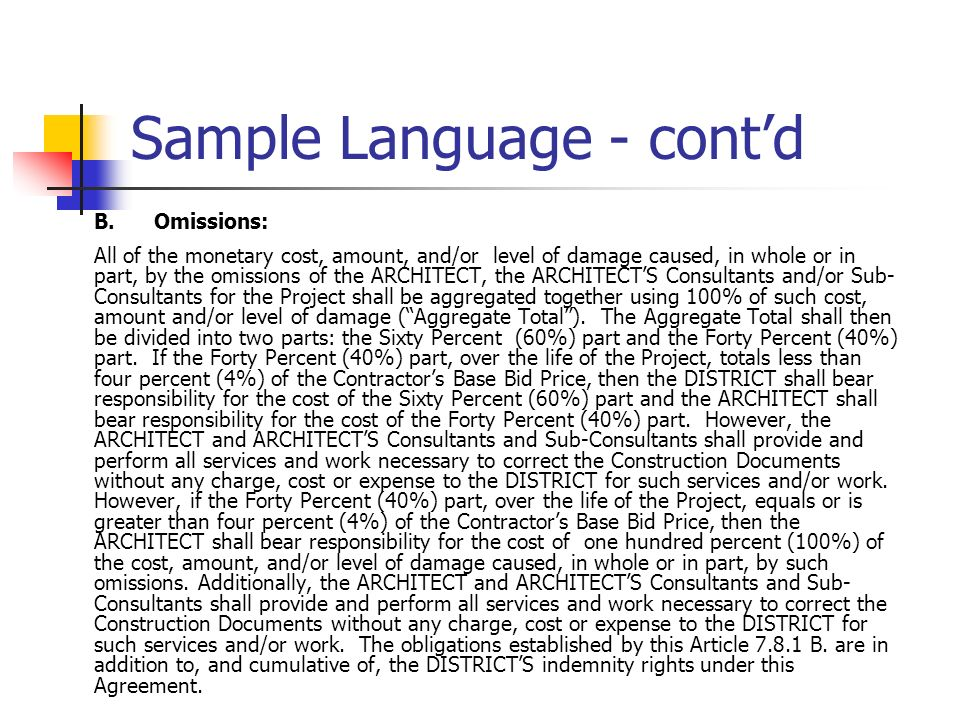 Sample Language - cont'd