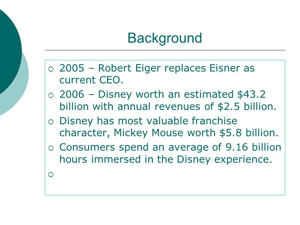 Background 2005 – Robert Eiger replaces Eisner as current CEO.