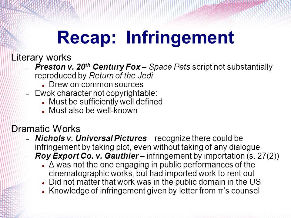 Recap: Infringement Literary works Dramatic Works