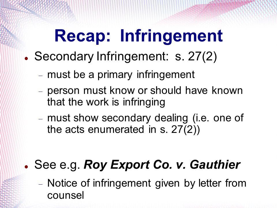 Recap: Infringement Secondary Infringement: s. 27(2)
