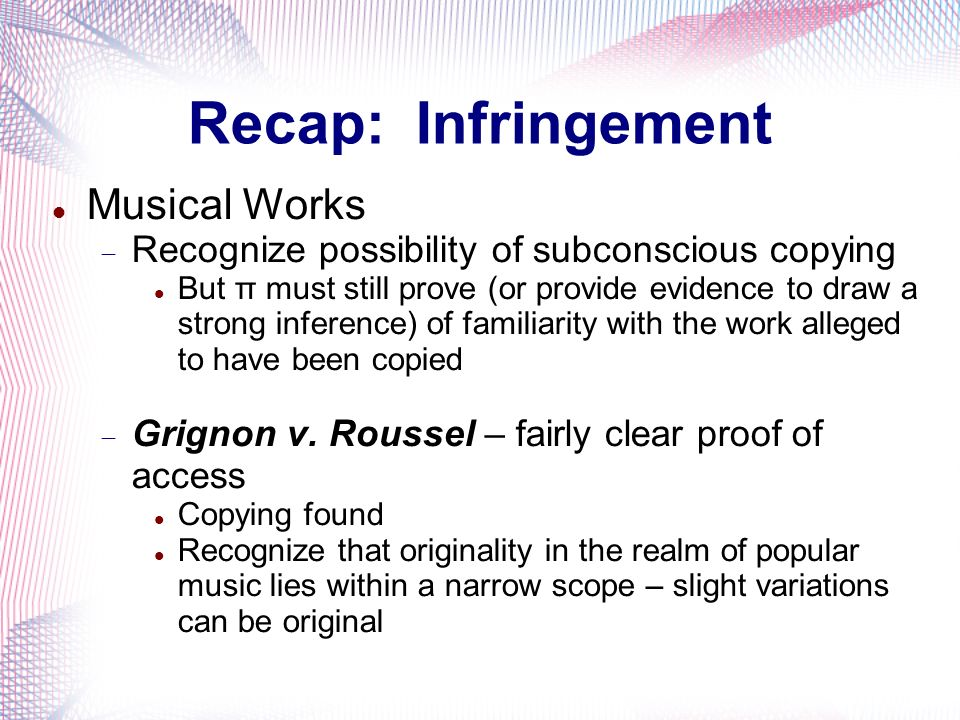 Recap: Infringement Musical Works