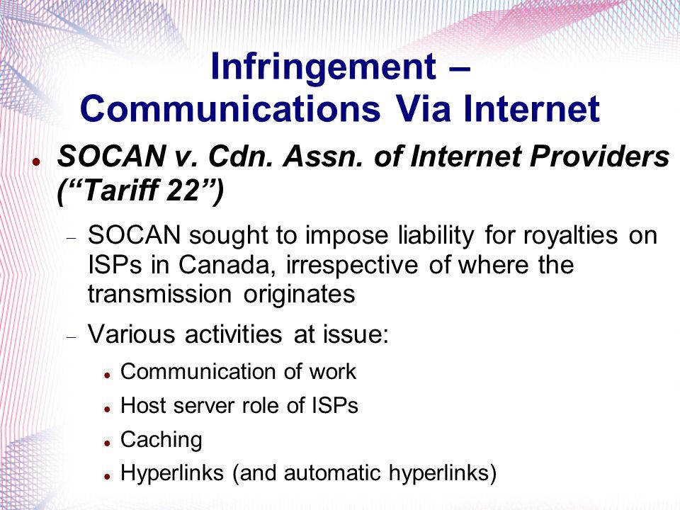 Infringement – Communications Via Internet