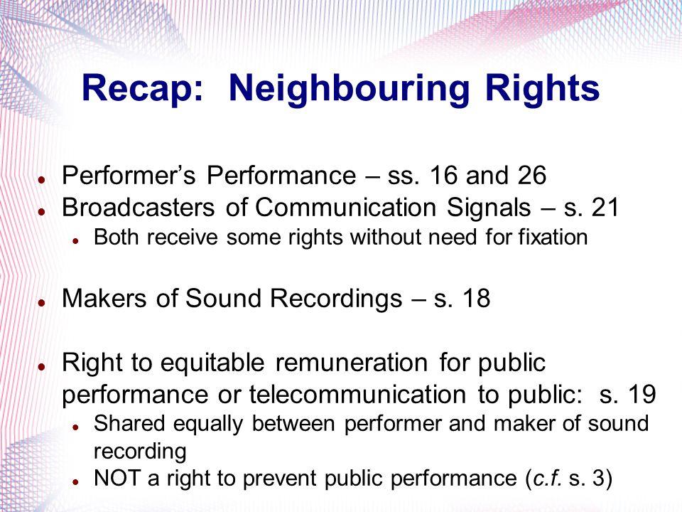 Recap: Neighbouring Rights