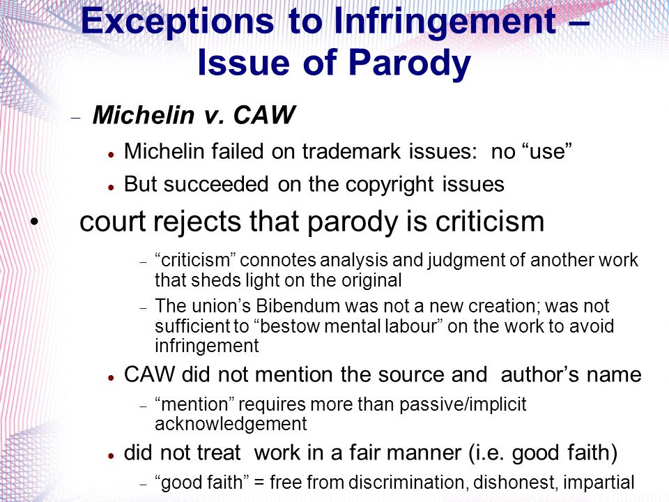 Exceptions to Infringement – Issue of Parody