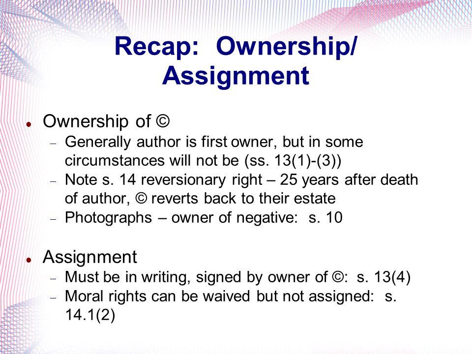 Recap: Ownership/ Assignment