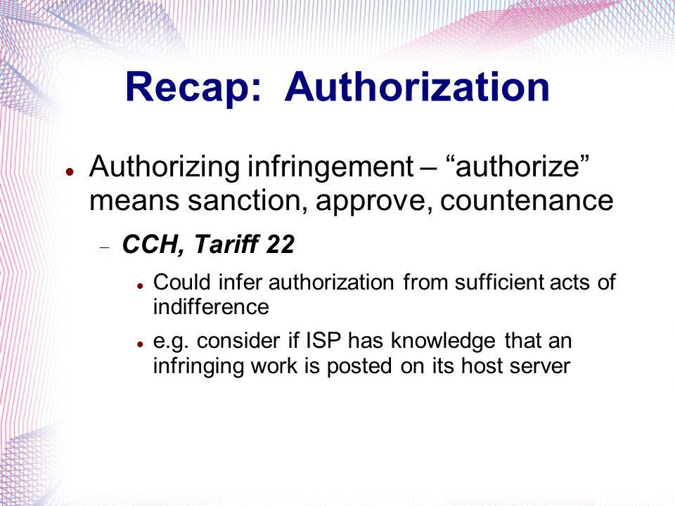 Recap: Authorization Authorizing infringement – authorize means sanction, approve, countenance.
