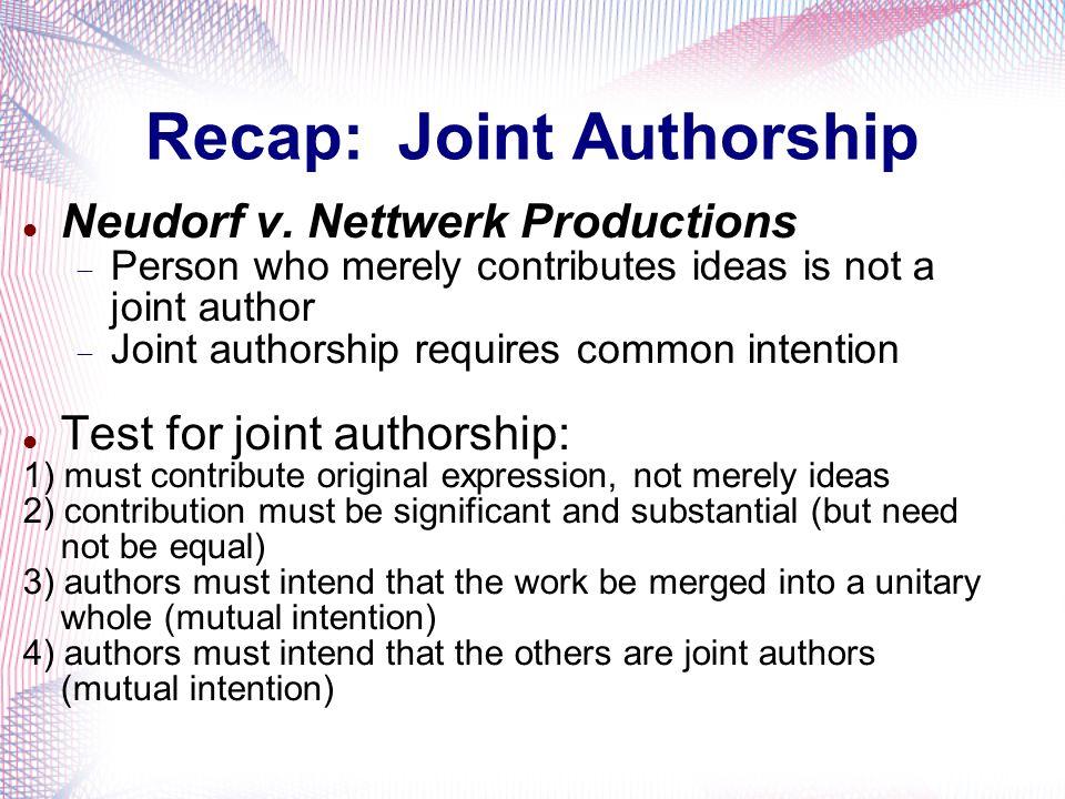 Recap: Joint Authorship