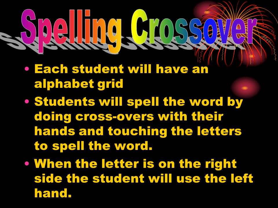 Spelling Crossover Each student will have an alphabet grid