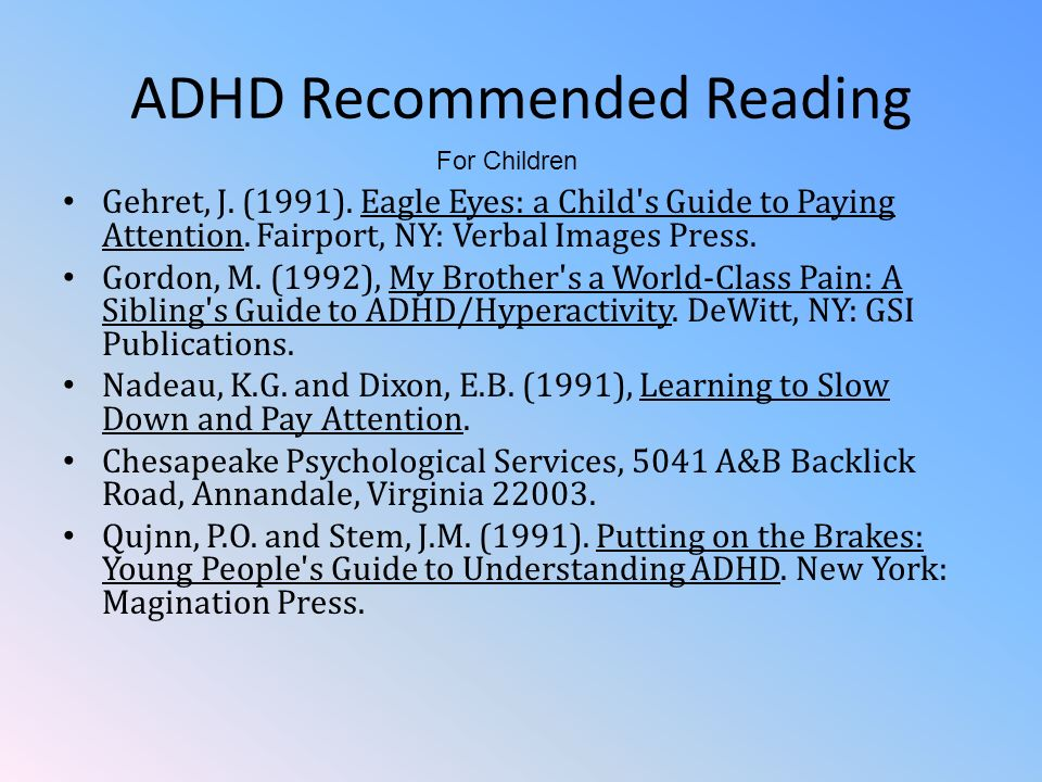 ADHD Recommended Reading